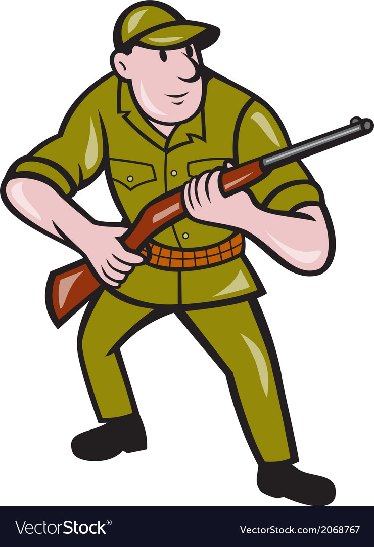 Hunter carrying rifle cartoon vector | Price: 1 Credit (USD $1)