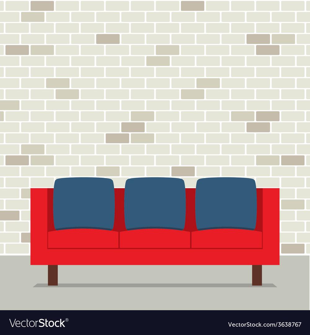 Modern flat design sofa interior vector | Price: 1 Credit (USD $1)
