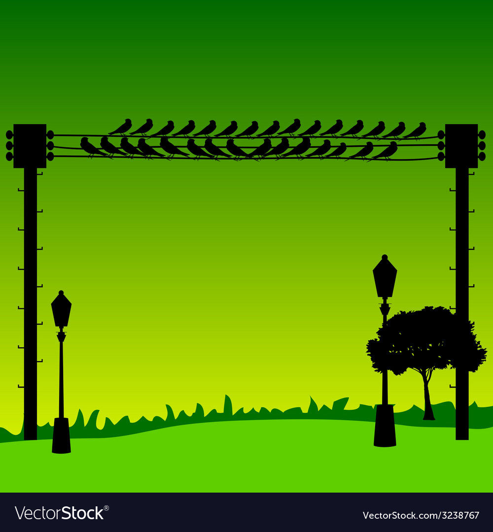 Nature with sparrow and street lights vector | Price: 1 Credit (USD $1)