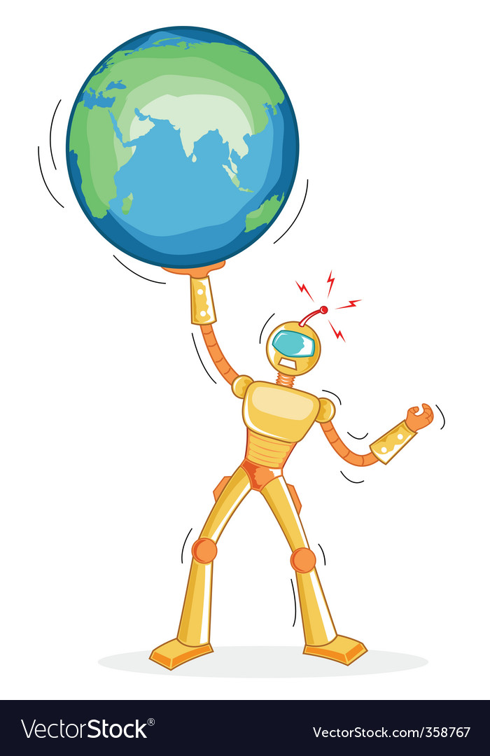 Robot holding globe vector | Price: 1 Credit (USD $1)