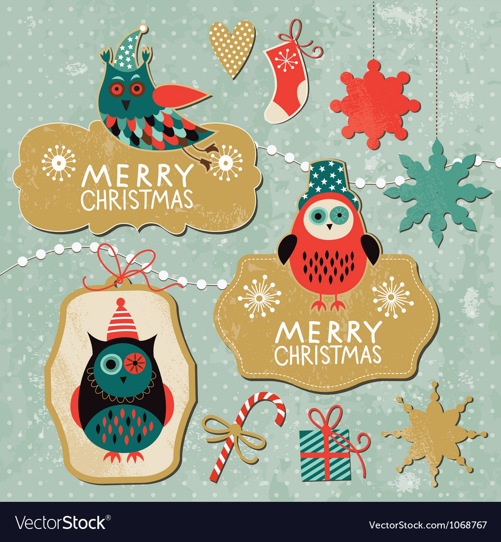 Set of vintage christmas and new year elements wit vector | Price: 3 Credit (USD $3)