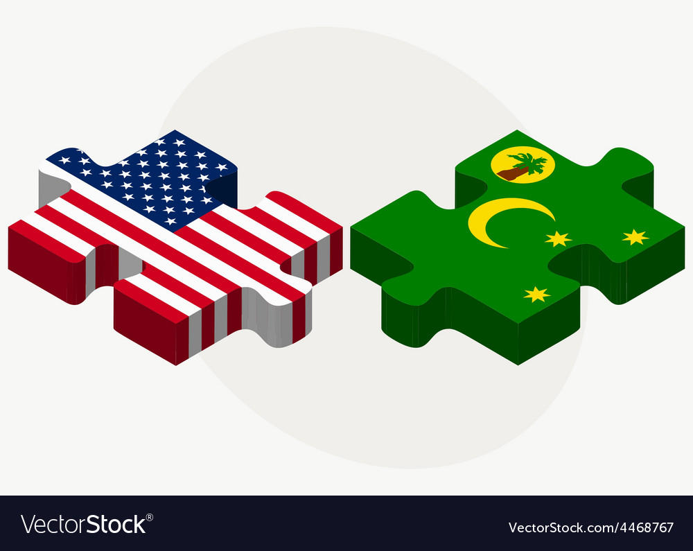 Usa and cocos keeling islands flags in puzzle vector | Price: 1 Credit (USD $1)