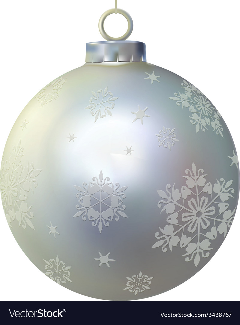 Xmas silver glass ball decorated by snowflakes vector | Price: 1 Credit (USD $1)