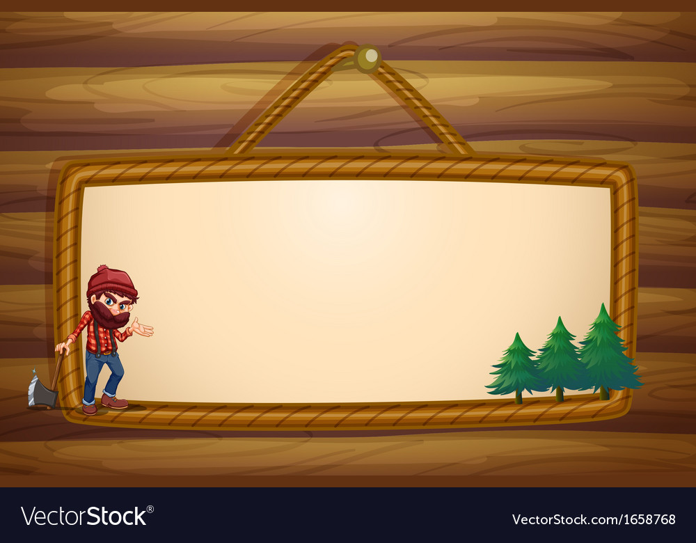 A hanging frame with a lumberjack and three pine vector | Price: 3 Credit (USD $3)