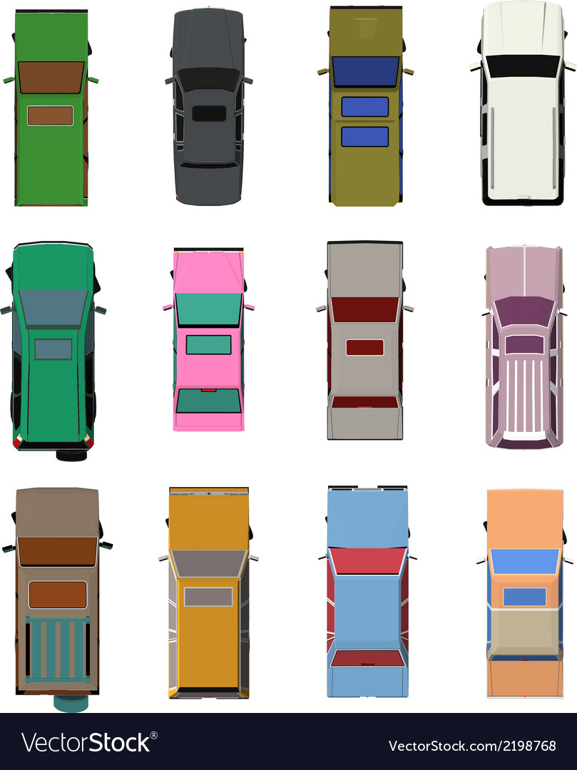 Cars top view set 2 vector | Price: 1 Credit (USD $1)