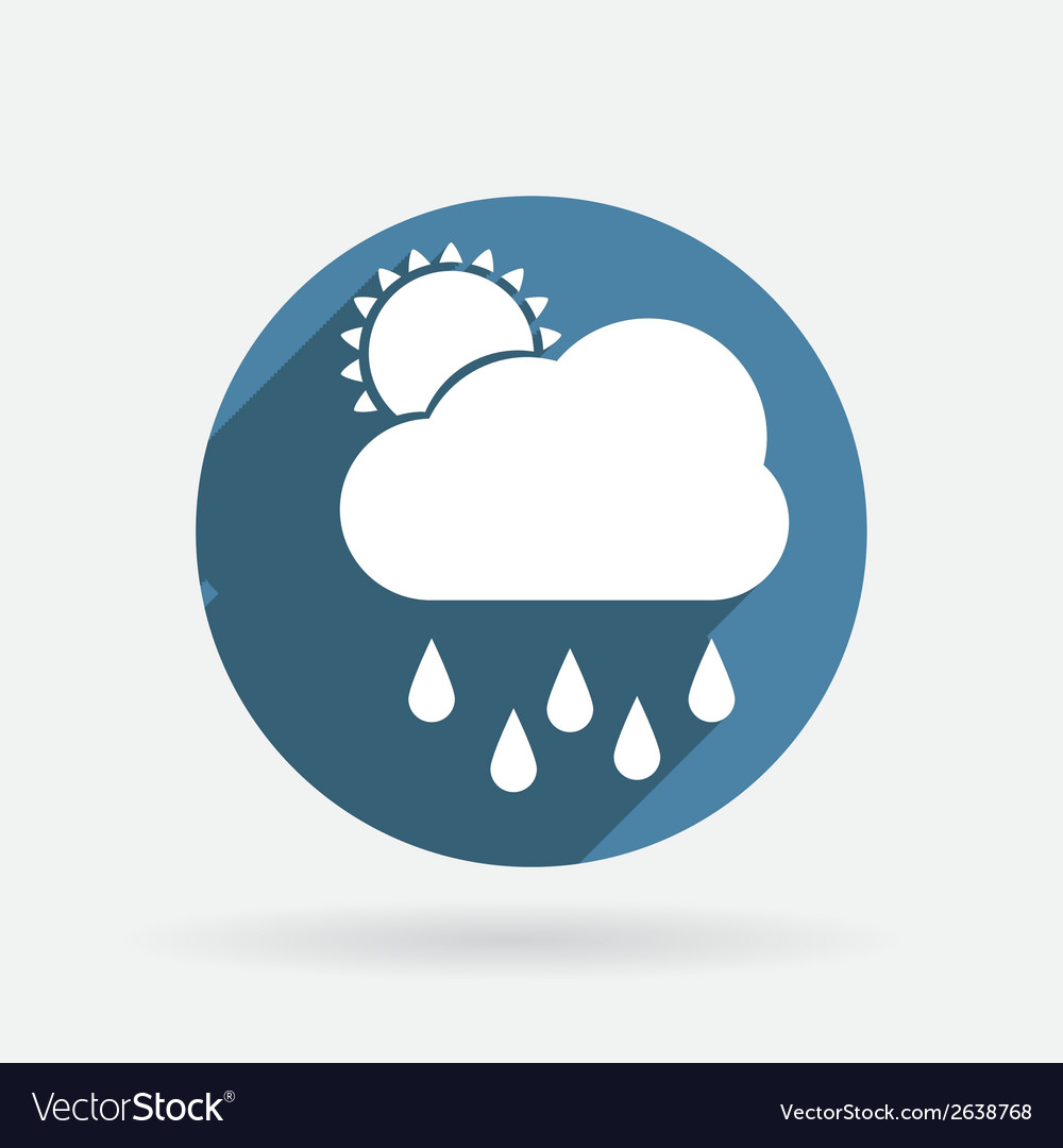 Cloud rain circle blue icon with shadow vector | Price: 1 Credit (USD $1)