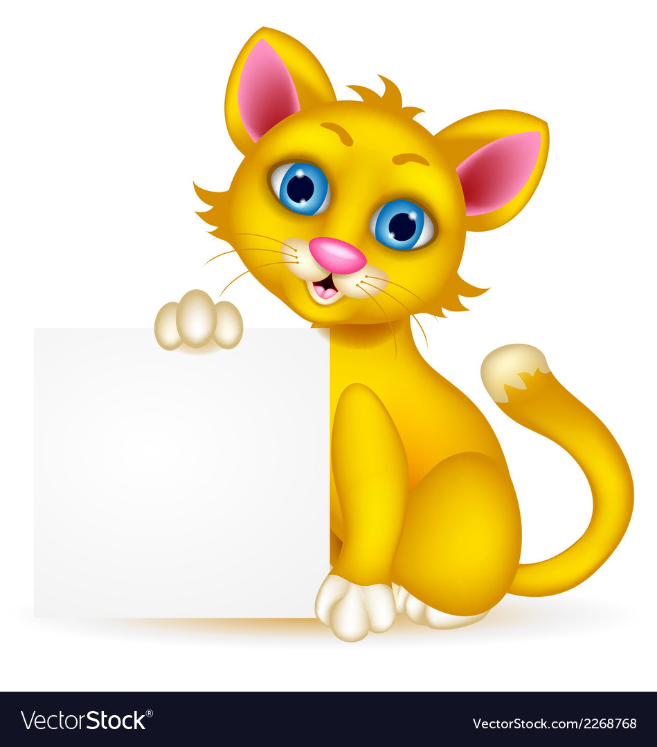 Cute cat cartoon with blank sign vector | Price: 1 Credit (USD $1)