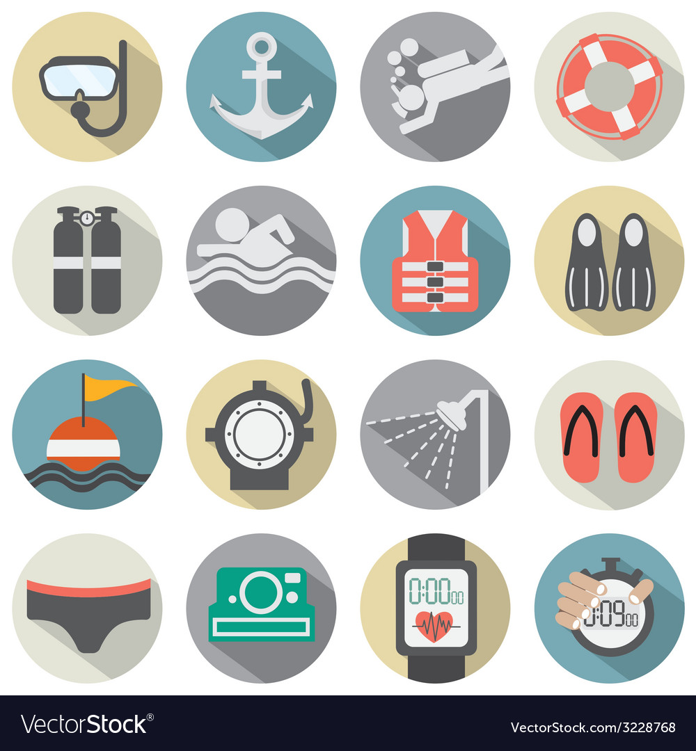 Flat design diving icon set vector | Price: 1 Credit (USD $1)