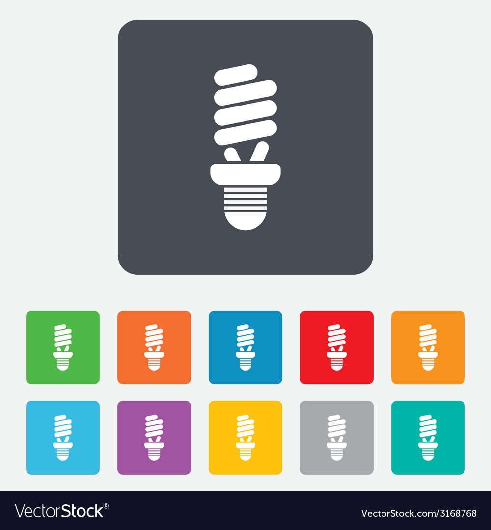 Fluorescent lamp bulb sign icon energy saving vector | Price: 1 Credit (USD $1)