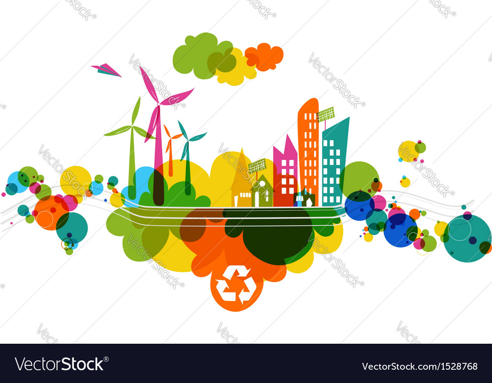 Go green transparent colorful city vector | Price: 1 Credit (USD $1)