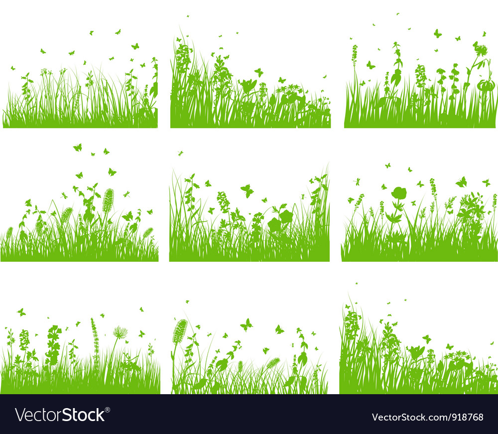 Grass set nine vector   Price: 1 Credit (USD $1)