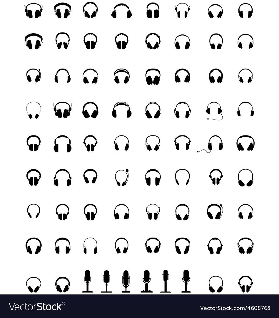 Headphones and microphones vector | Price: 1 Credit (USD $1)
