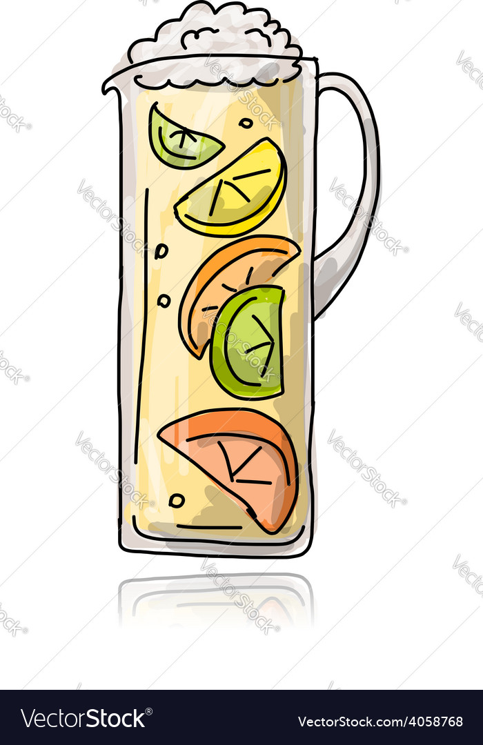 Jar with cocktail sketch for your design vector | Price: 1 Credit (USD $1)