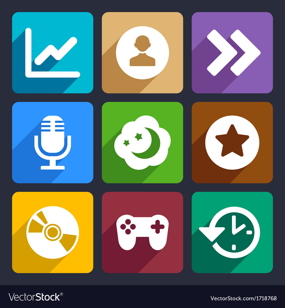 Multimedia flat icons set 6 vector | Price: 1 Credit (USD $1)
