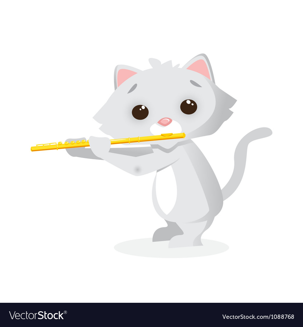 Musical animals kitty flute vector | Price: 1 Credit (USD $1)