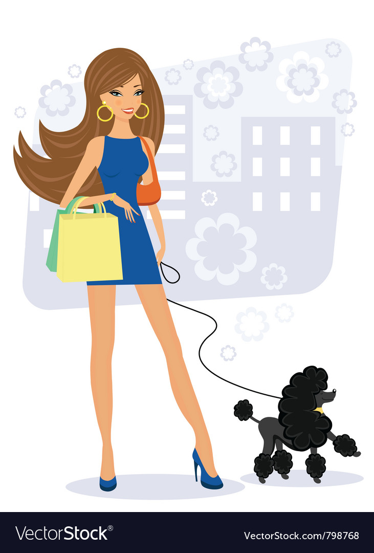 Pretty young woman with poodle vector | Price: 3 Credit (USD $3)
