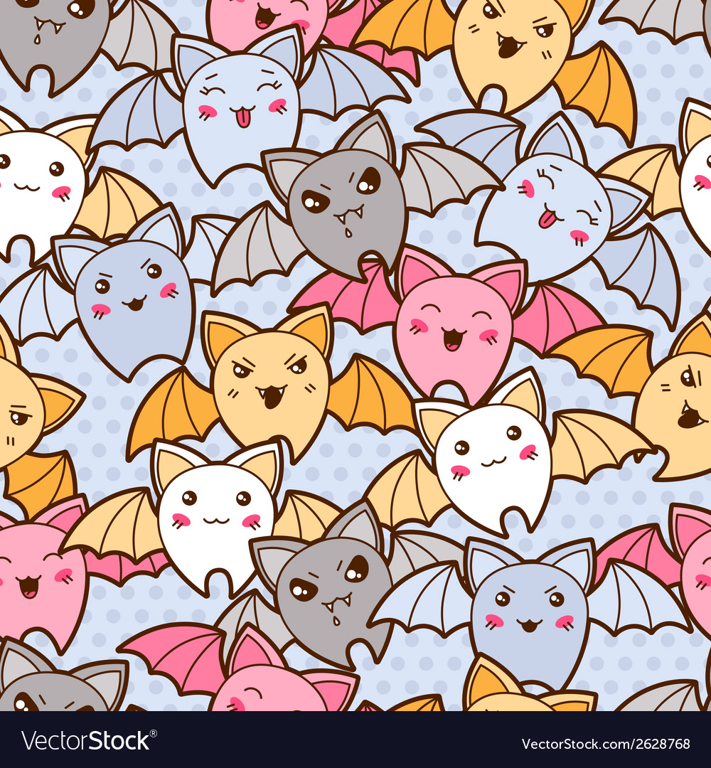 Seamless kawaii cartoon pattern with cute bats vector | Price: 1 Credit (USD $1)
