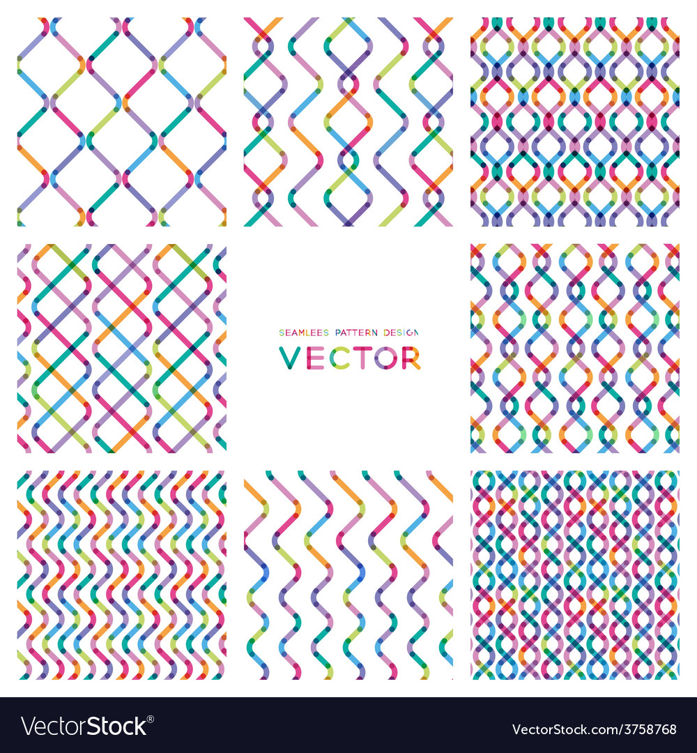 Set colorful seamless patterns from smooth lines vector | Price: 1 Credit (USD $1)