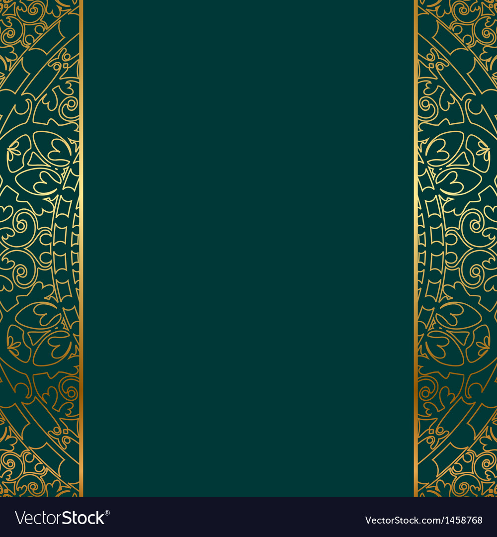 Turquoise gold ornate border vector | Price: 1 Credit (USD $1)