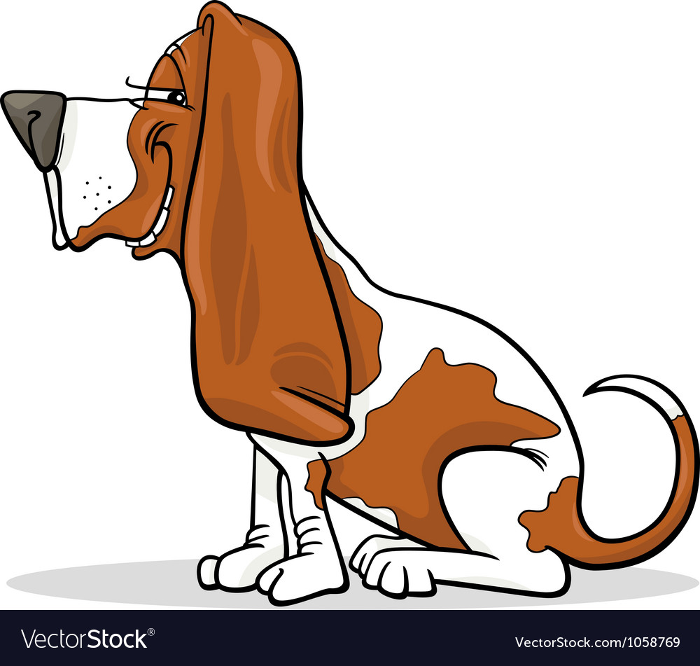 Basset hound dog cartoon vector | Price: 1 Credit (USD $1)