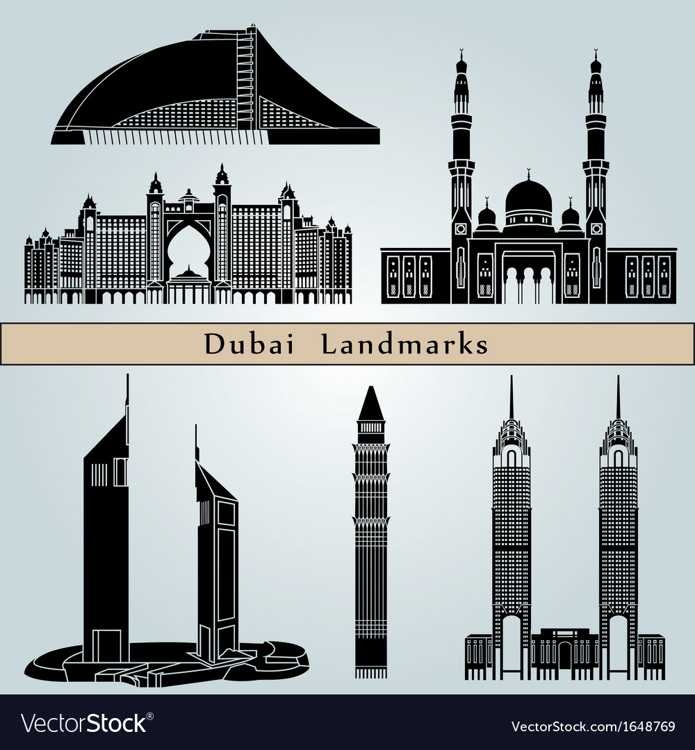 Dubai landmarks and monuments vector | Price: 1 Credit (USD $1)