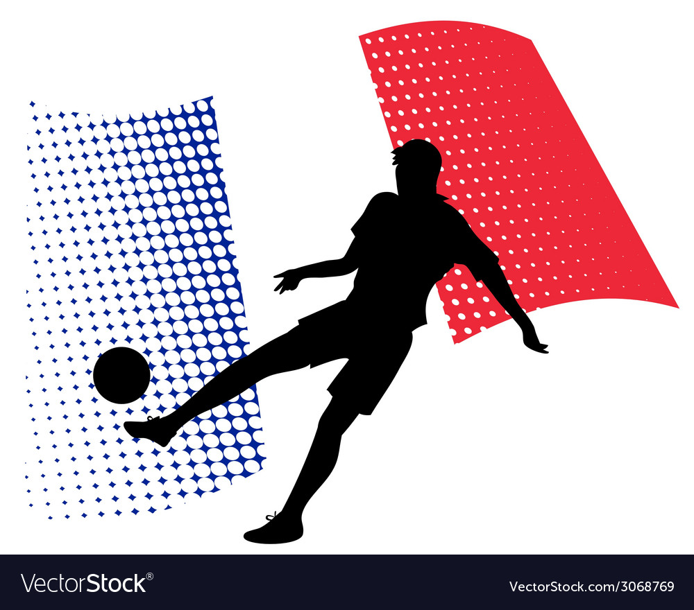 France soccer player against national flag vector | Price: 1 Credit (USD $1)