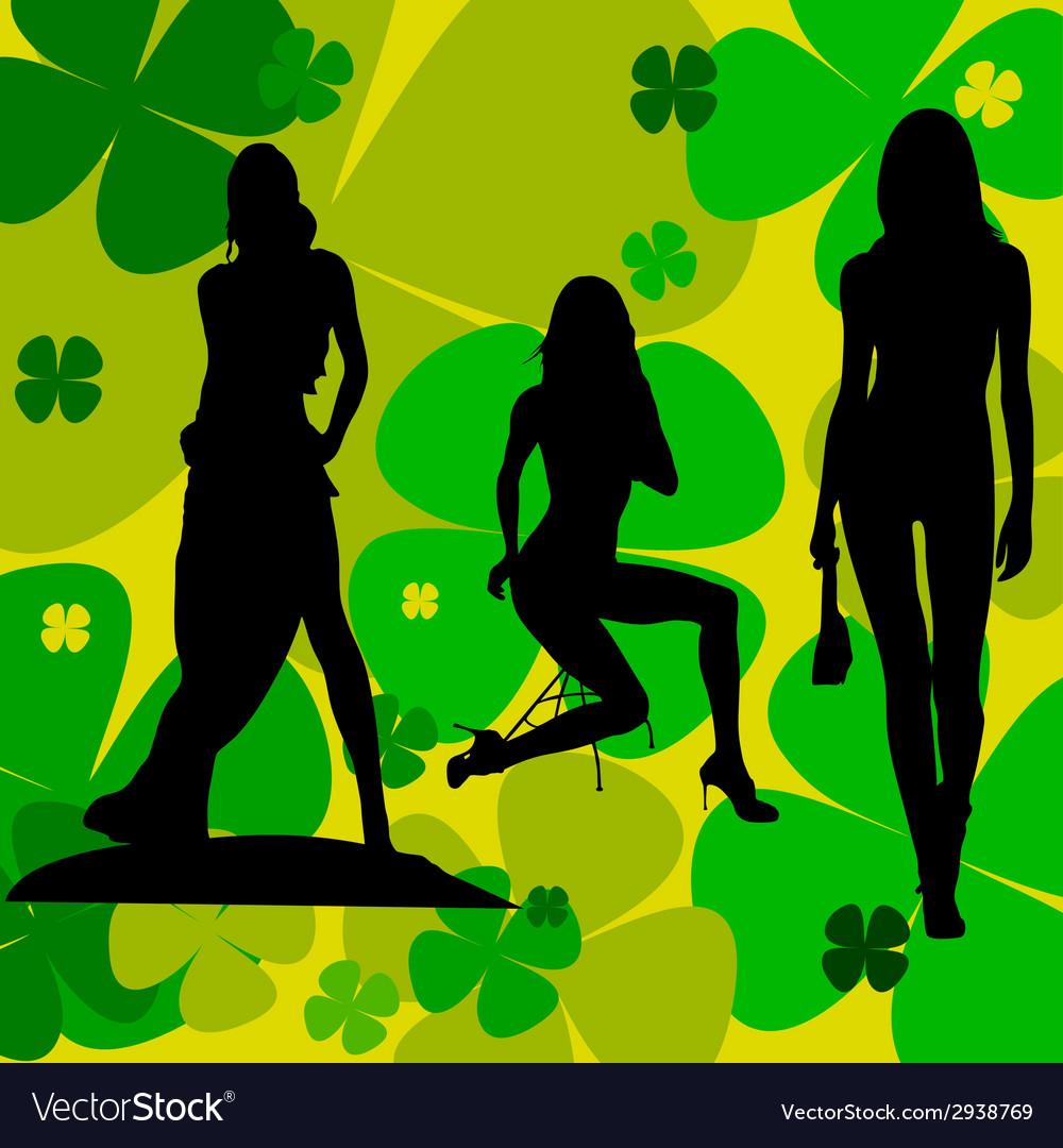 Girl on a leaf background silhouette vector | Price: 1 Credit (USD $1)