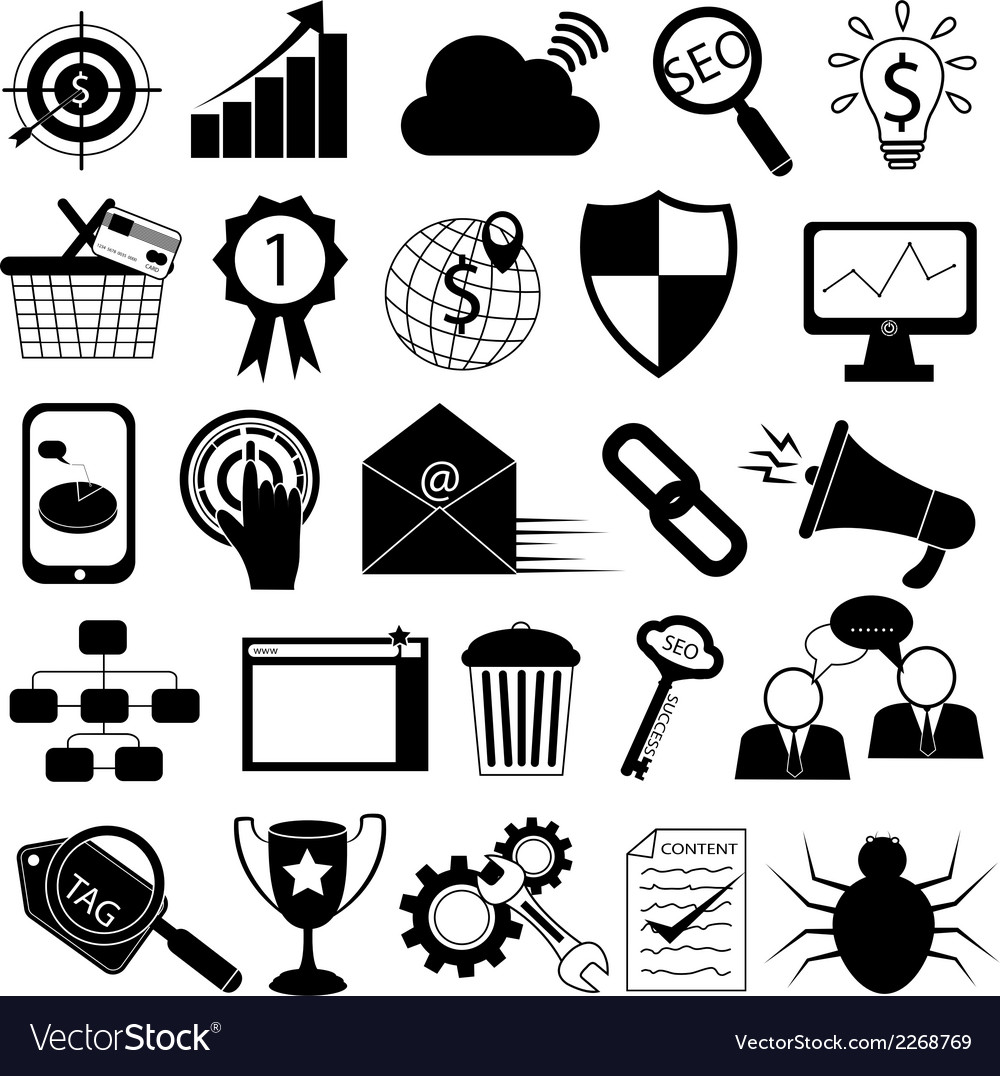 Internet marketing icons seo tools vector | Price: 1 Credit (USD $1)