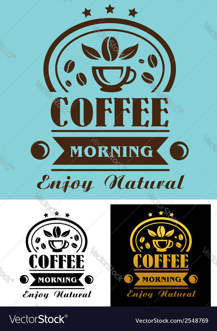 Morning coffee cup poster vector | Price: 1 Credit (USD $1)