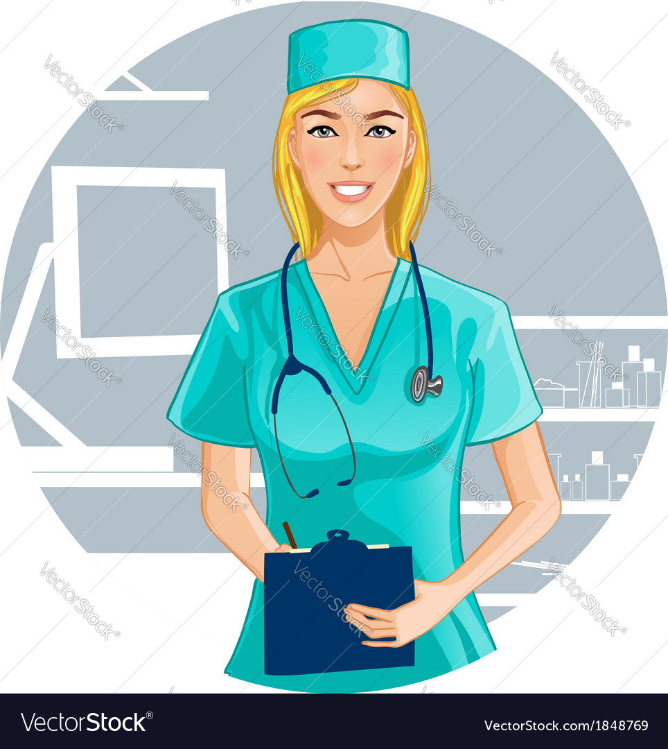 Nurse with stethoscope writes notes vector | Price: 3 Credit (USD $3)