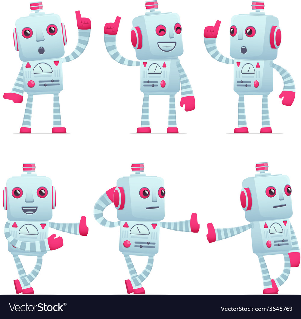 Set of robot character in different poses vector   Price: 3 Credit (USD $3)