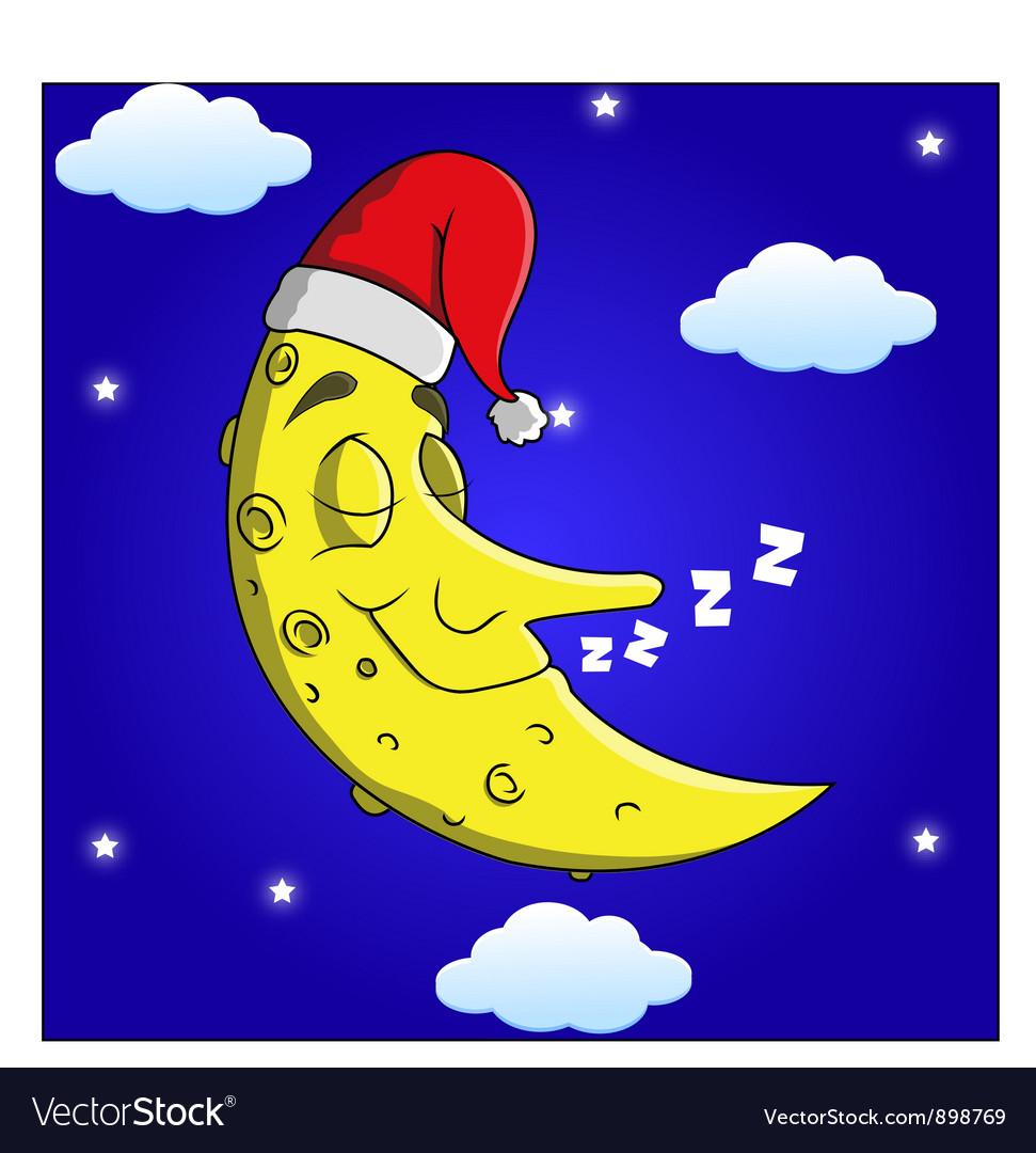 Sleeping moon cartoon vector | Price: 3 Credit (USD $3)