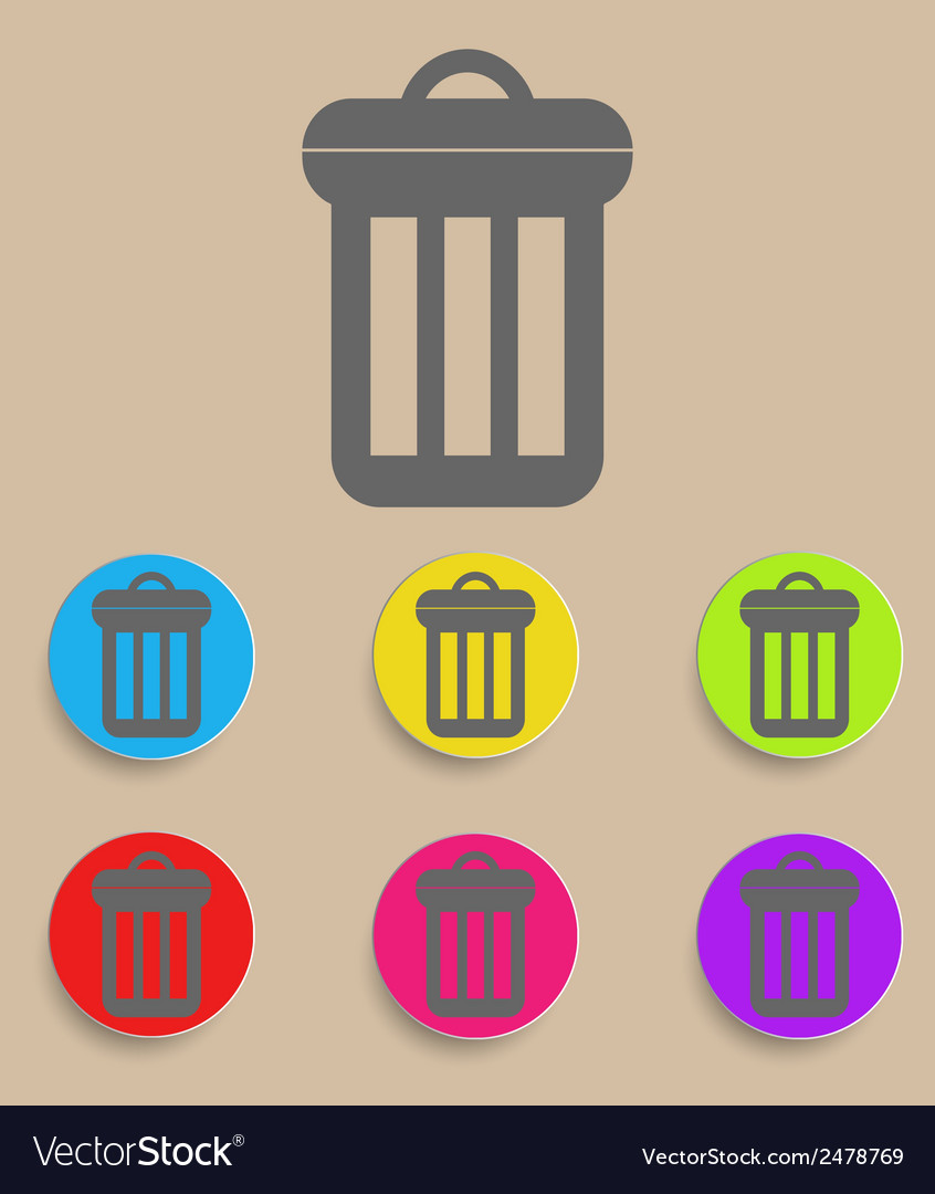 Trash can icon with color variations vector | Price: 1 Credit (USD $1)