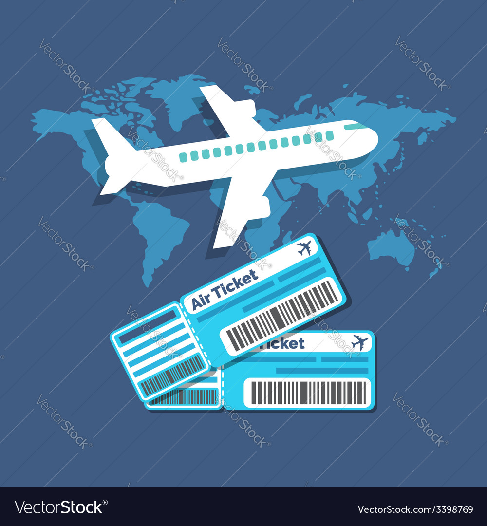 Traveling ticket booking concept flat design vector | Price: 1 Credit (USD $1)