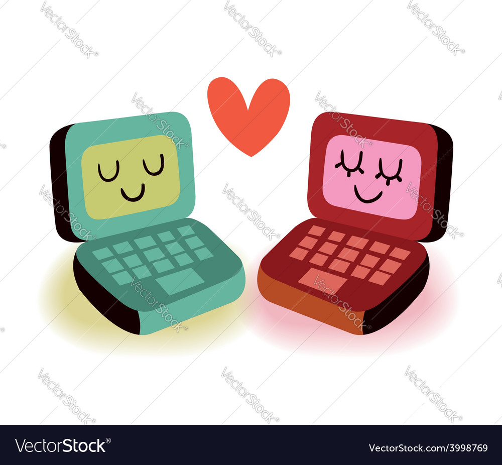 Two laptop computers in love vector
