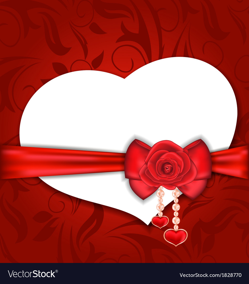 Card heart shaped with silk bow and red rose for vector | Price: 1 Credit (USD $1)