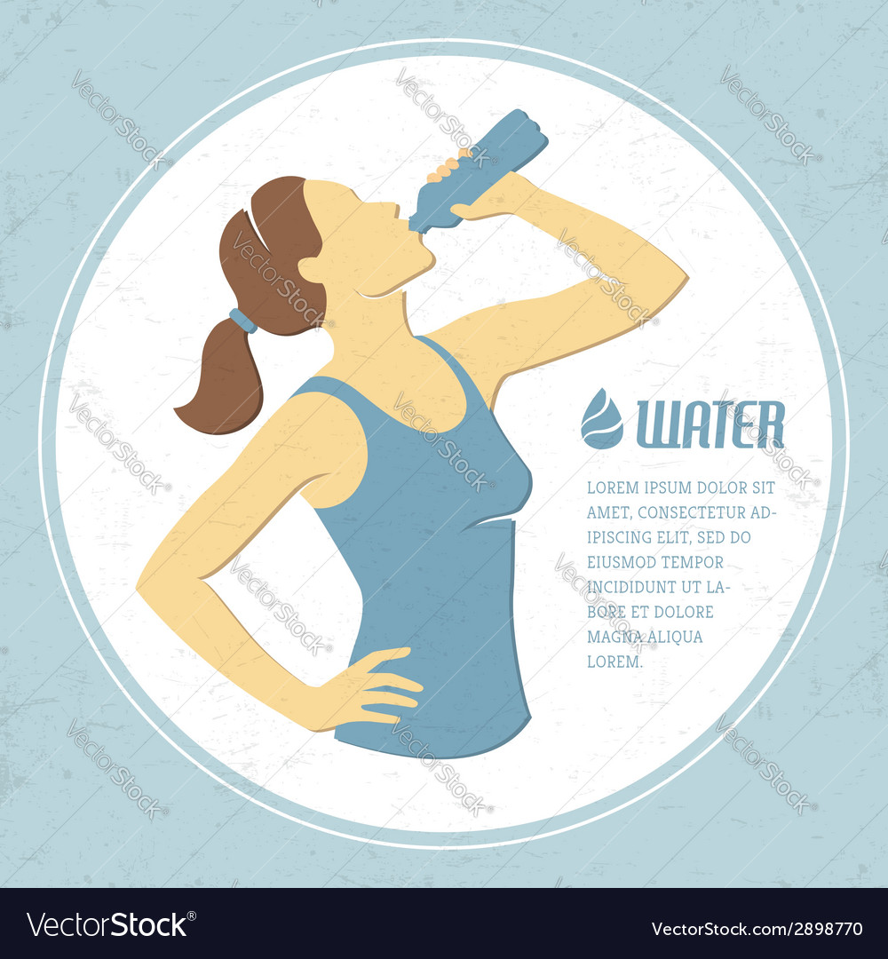 Drinking water 1 vector | Price: 1 Credit (USD $1)