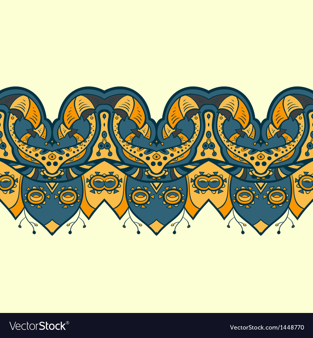 Ethnic horizontal seamless pattern indian ornament vector | Price: 1 Credit (USD $1)