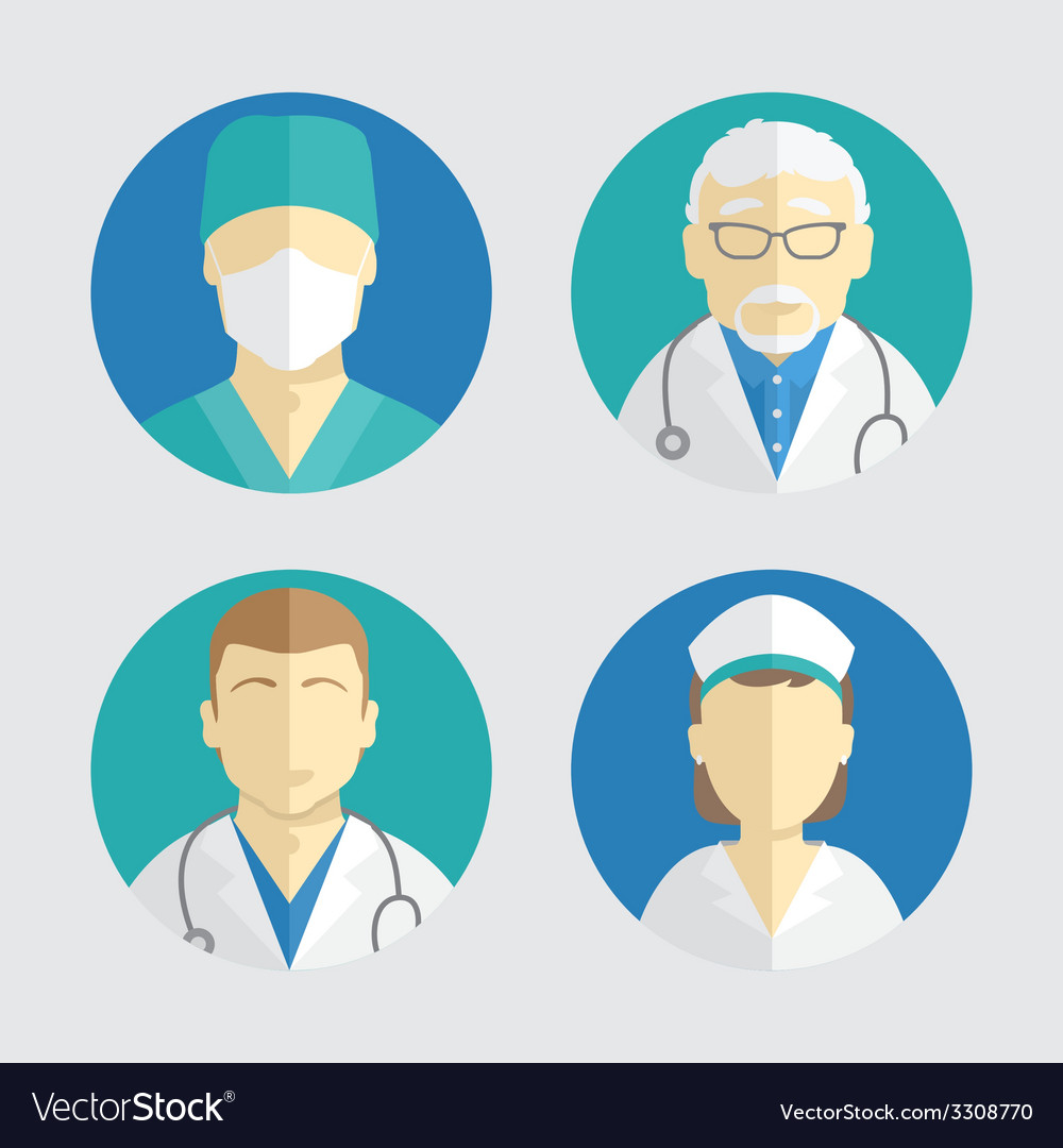Flat design people icons doctor and nurse vector | Price: 1 Credit (USD $1)