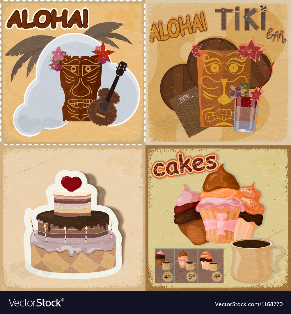 Food and hawaiian masks vector | Price: 3 Credit (USD $3)