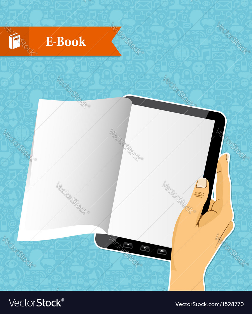 Hand holding an electronic book vector | Price: 1 Credit (USD $1)