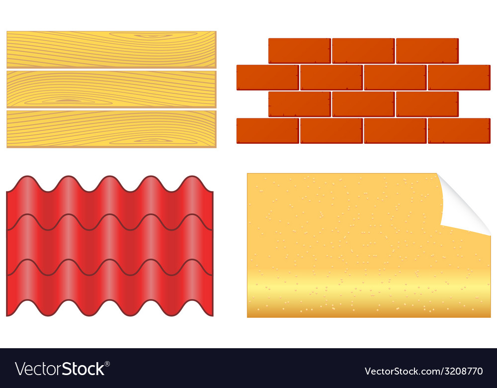 Isolated wood boards bricks ply shingles and vector | Price: 1 Credit (USD $1)