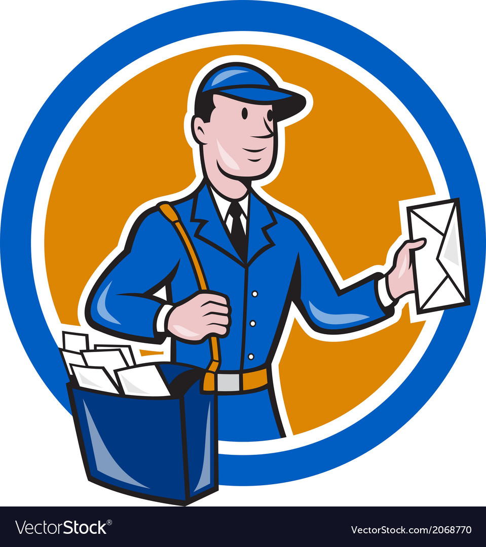 Mailman postman delivery worker circle cartoon vector | Price: 1 Credit (USD $1)