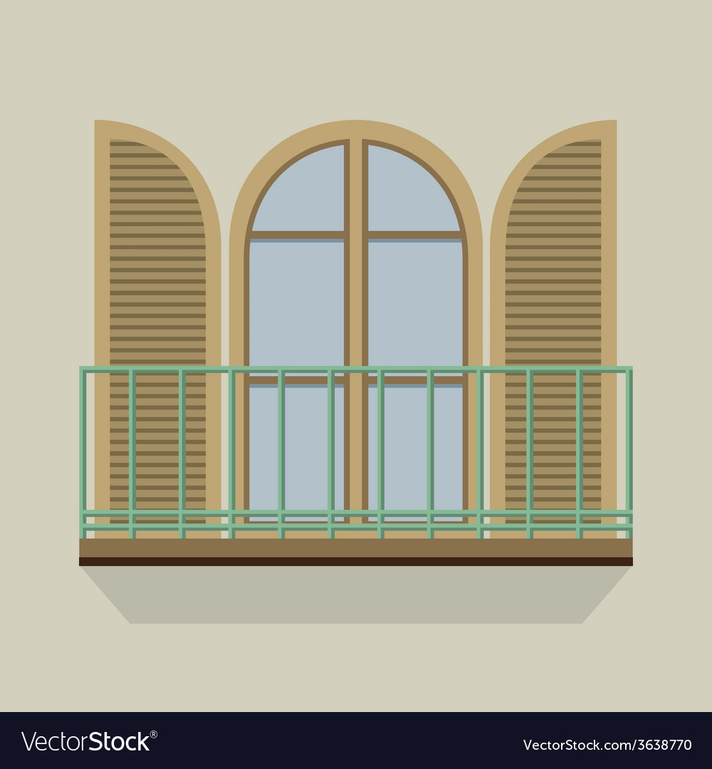 Open door with balcony vintage style vector | Price: 1 Credit (USD $1)