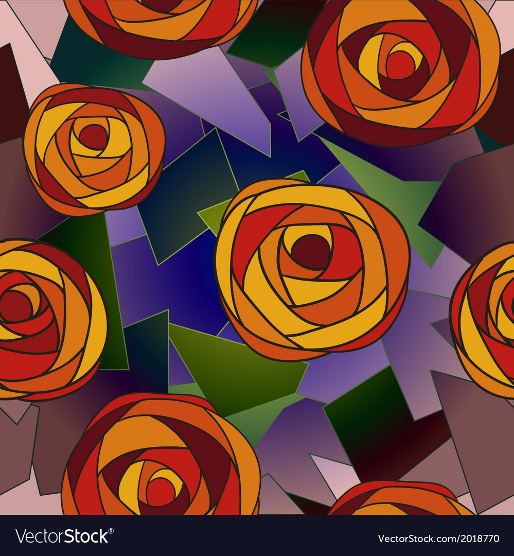 Seamless flower background with roses vector | Price: 1 Credit (USD $1)