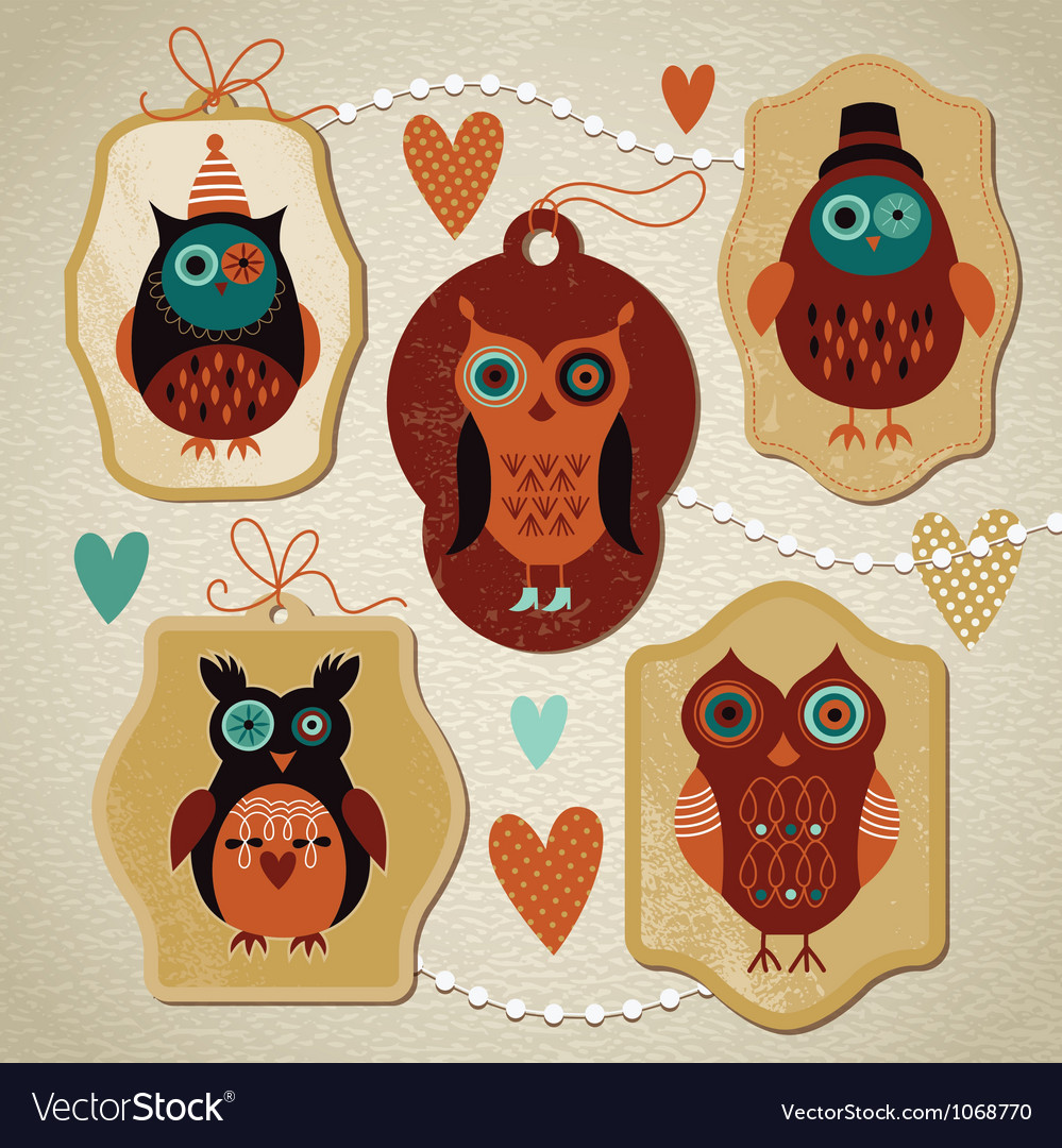 Set of vintage cute owls vector | Price: 3 Credit (USD $3)