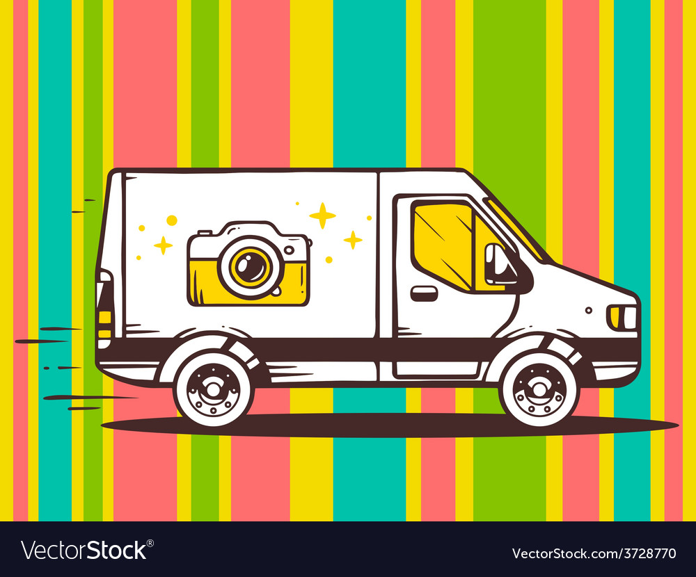 Van free and fast delivering photo camera vector | Price: 1 Credit (USD $1)