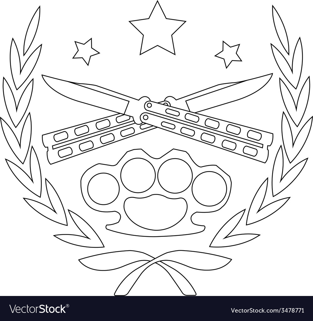 2 crossed knifes and brass knuckle line-art emblem vector | Price: 1 Credit (USD $1)