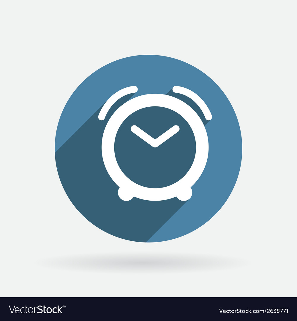 Alarm clock circle blue icon with shadow vector | Price: 1 Credit (USD $1)