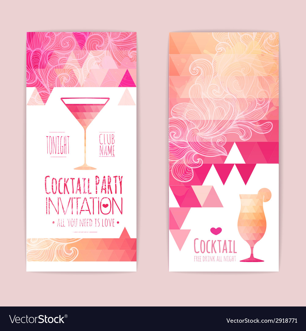 Cocktail geometric triangle banner vector | Price: 1 Credit (USD $1)